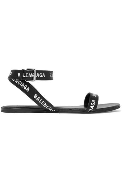 Balenciaga Black & White Logo Strap Flat Sandals In 1006 Black