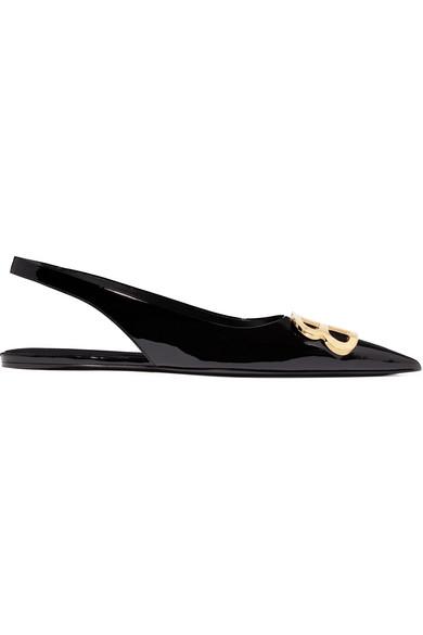 Balenciaga Knife Logo-embellished Coated-denim Slingback Point-toe Flats In Black