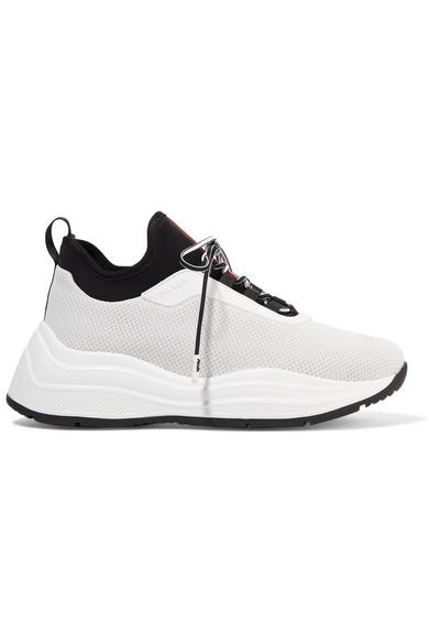 Prada America's Cup Rubber, Nylon And Mesh Sneakers In White