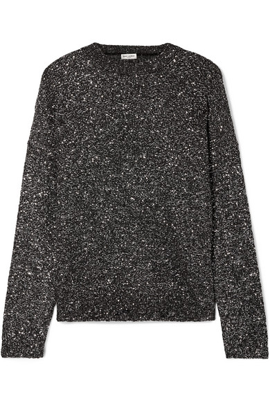 Saint Laurent Sequined Stretch-knit Sweater In Black
