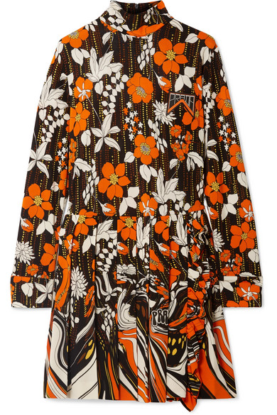 Prada Appliquéd Pleated Floral-print Jersey Mini Dress In Orange
