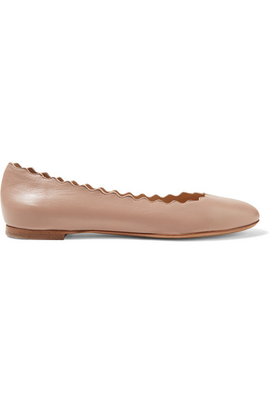 ChloÉ Lauren Scalloped Leather Ballet Flats, Light Pink In Blush
