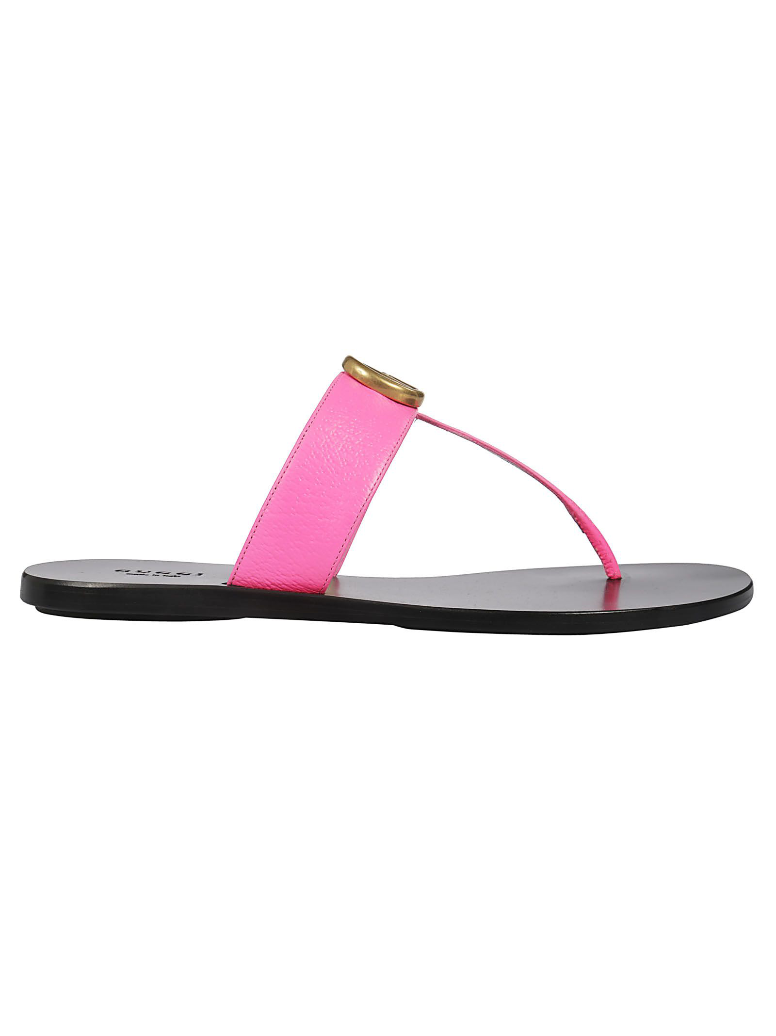 fe81f256e79 Gucci Leather Thong Sandal With Double G In Pink