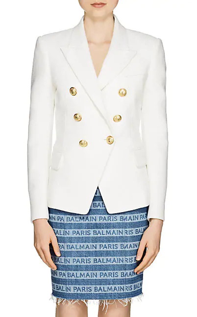 Balmain Woman Button-Embellished Distressed Denim Blazer White