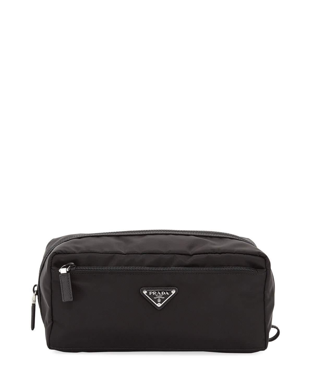 c1b21d9d02b5 Prada Vela Studded Leather-Trimmed Shell Belt Bag In Black | ModeSens
