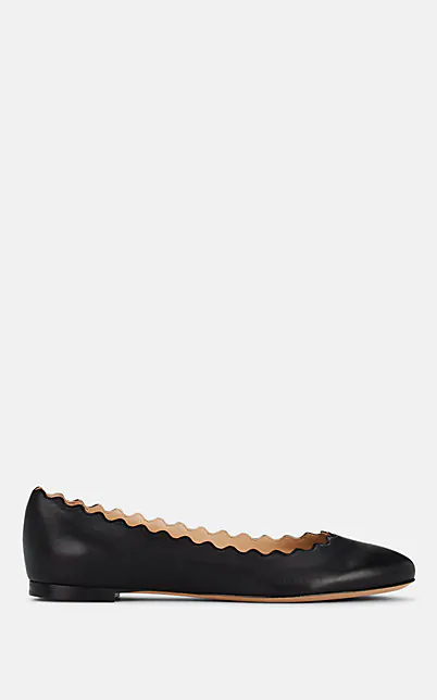 ChloÉ Lauren Scalloped Leather Ballet Flats, Black