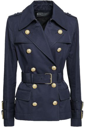 Balmain Woman Double-breasted Cotton-gabardine Jacket Navy In Blue
