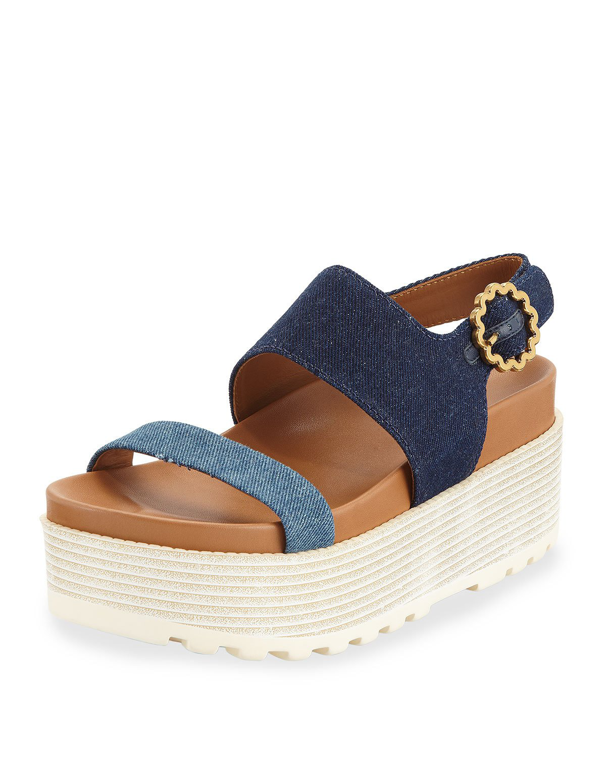 0c61d931790 See By ChloÉ Jenna Denim Flatform Sandals In Denim Navy