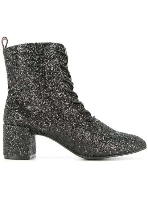 Macgraw Stardust Glitter Ankle Boots In Black
