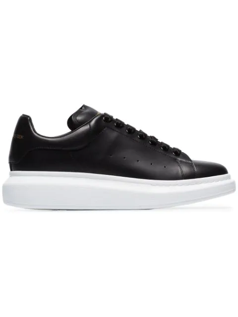 Alexander Mcqueen Raised-sole Low-top Leather Trainers In Black