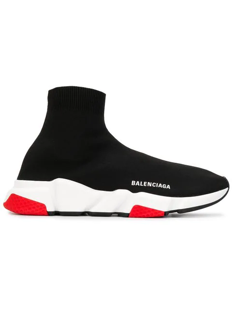 Balenciaga Low-Top Sneakers Speed Runner  Polyester Polyurethane Logo Black In 1000 Black
