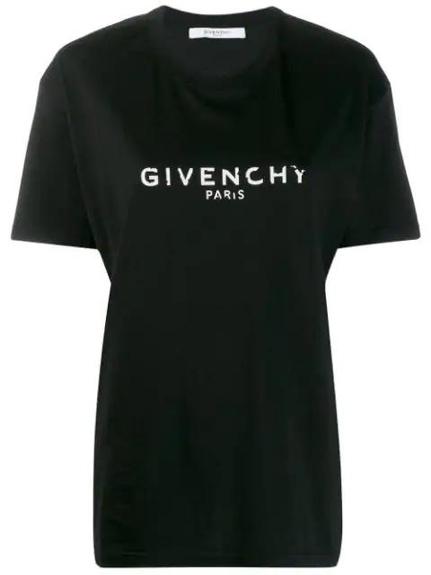Givenchy Cuban Vintage Logo Print Jersey T-Shirt In Black