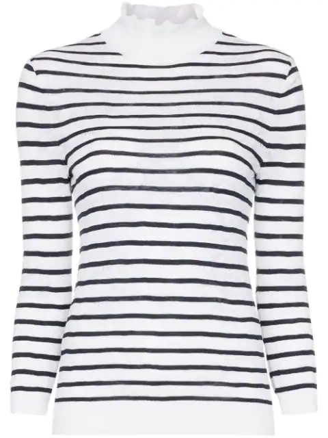ChloÉ Striped Cotton-Blend Lace Turtleneck Sweater In 48A Inconic Navy