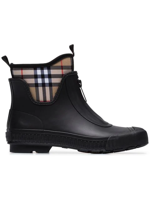 Burberry Flinton Zip Front Rubber Boot In Black Rubber In A1189 Black