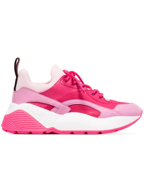 Stella Mccartney Eclypse Faux Leather, Faux Suede And Neoprene Sneakers In Pink