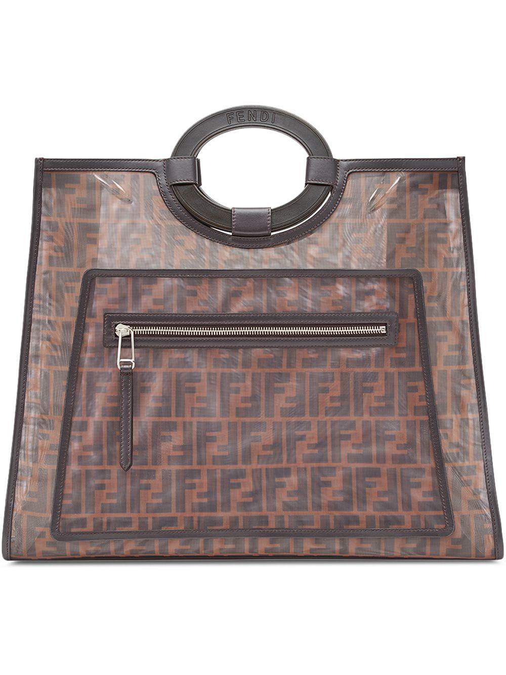 95356c1632a0 Fendi Runaway Large Leather-Trimmed Printed Mesh Tote In Dark Brown ...
