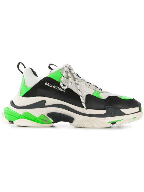 Balenciaga Triple S Mesh, Nubuck And Leather Sneakers In Bt. Green