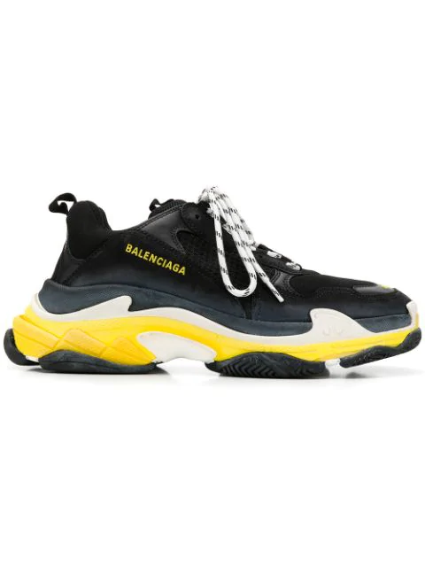 Balenciaga Triple S Leather And Mesh Sneakers - Black