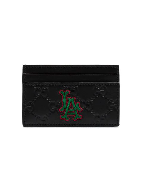 Gucci Black Embossed La Patch Leather Cardholder