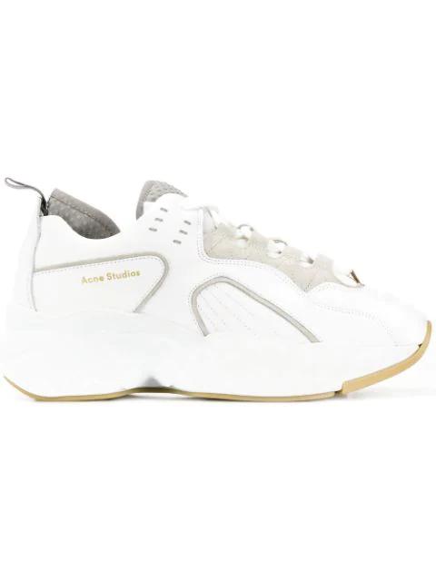 Acne Studios Rockaway Leather Sneakers In White