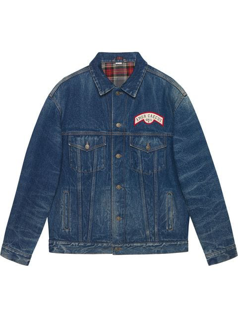 Gucci Patch Detail Oversized Denim Jacket In Blue