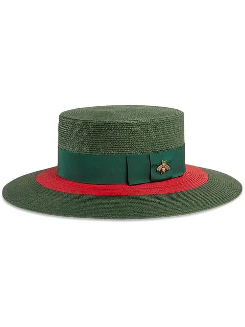 Gucci Embellished Grosgrain-trimmed Straw Hat In Green ,red