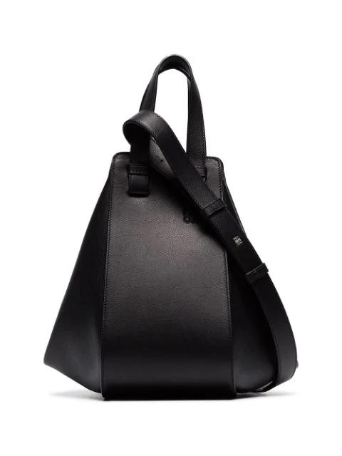 Loewe Hammock Small Textured-leather Shoulder Bag In 1100 Black