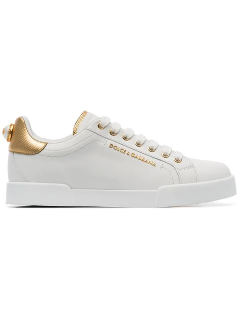 Dolce & Gabbana Calfskin Nappa Portofino Sneakers With Lettering In White