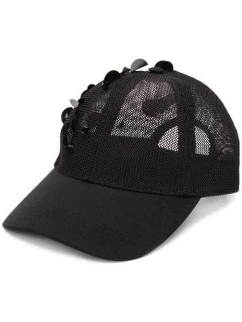 Fabiana Filippi 网纱拼接亮片镶嵌棒球帽 - 黑色 In Black