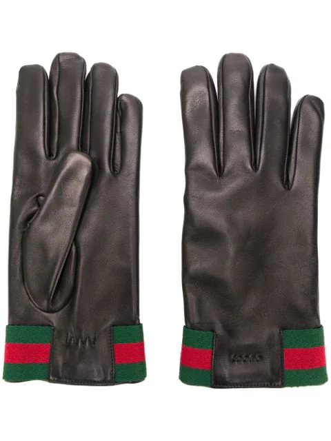 Gucci Web Striped Leather Gloves In Black