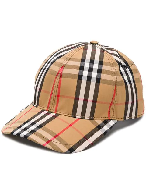 Burberry Leather-Trimmed Checked Cotton-Blend Canvas Baseball Cap In A5373 Antique Yellow Check