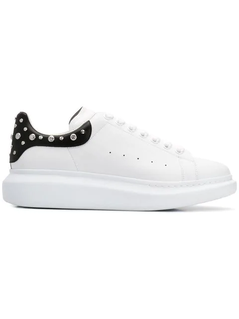 Alexander Mcqueen Men's Larry Leather Lace-up Platform Sneakers With Spiked Trim In White