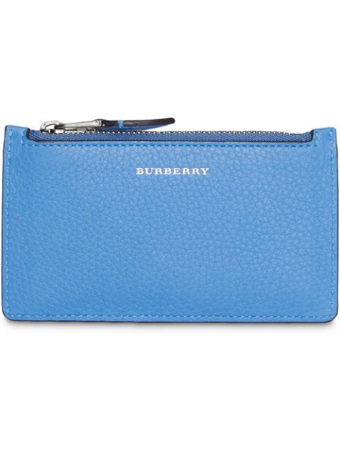 Burberry Two-tone Leather Card Case In Blue