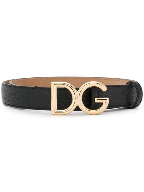 Dolce & Gabbana Interno Butterfly-Print Reversible Leather Belt W/ Logo Buckle In Black