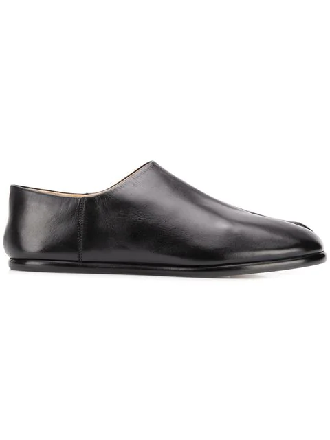 Maison Margiela Tabi Collapsible-heel Split-toe Leather Loafers In Black