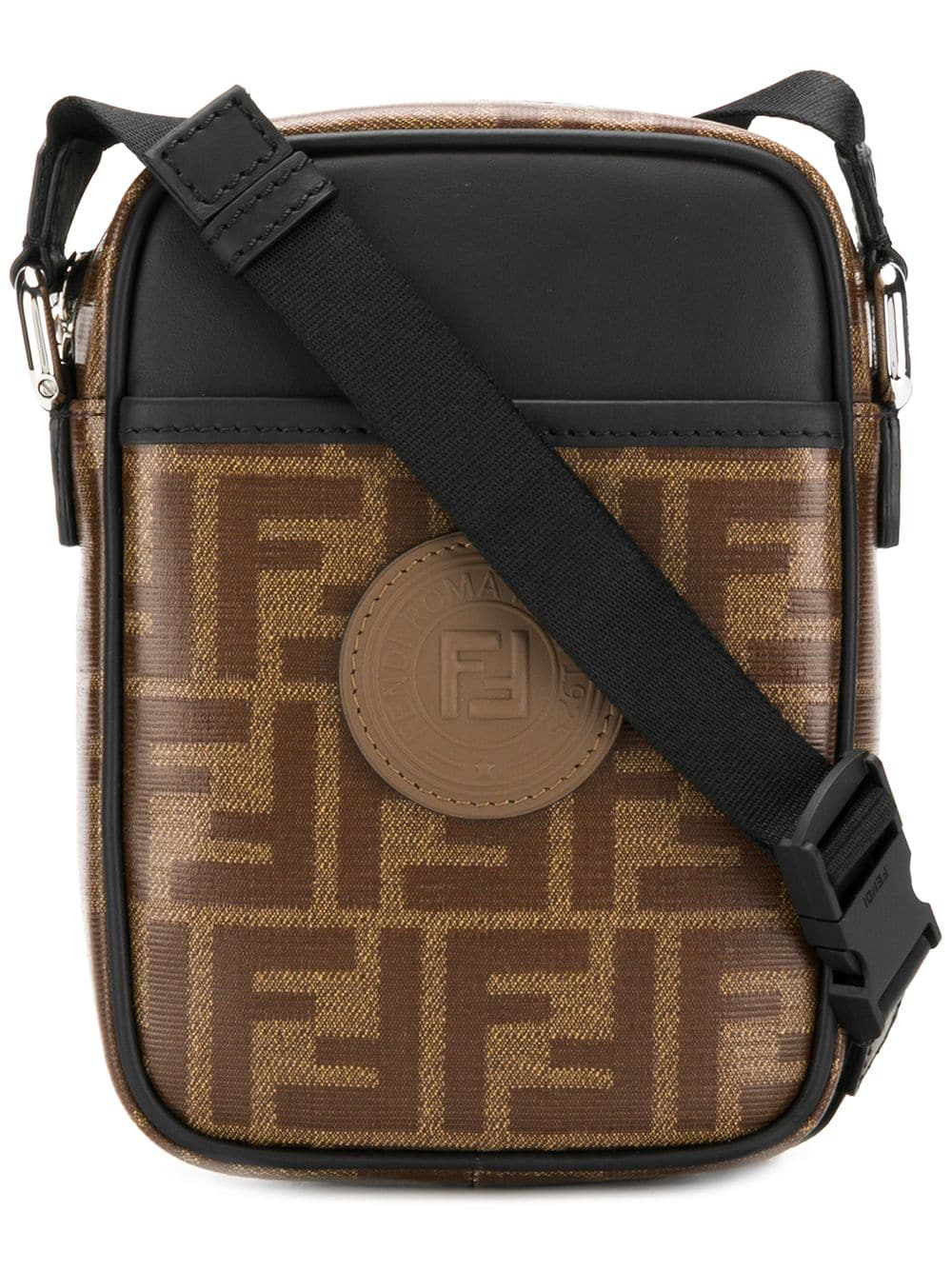 515188bfdfb0 Fendi Double-F Leather Cross-Body Bag In Brown. Farfetch