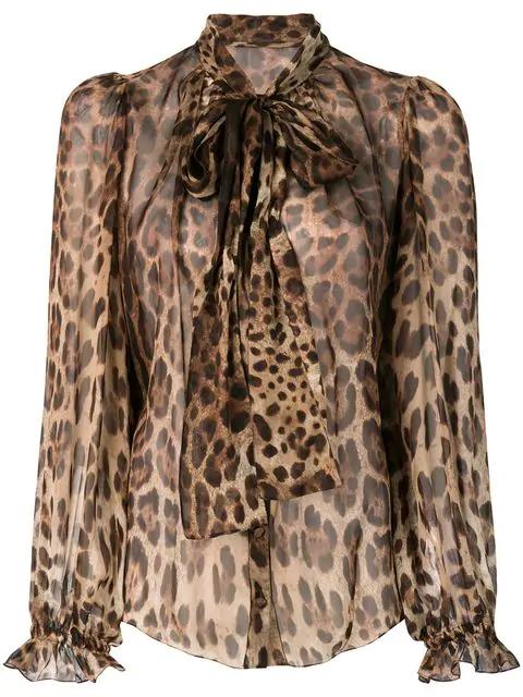 Dolce & Gabbana Leopard Print Tie Neck Silk Blouse In Brown