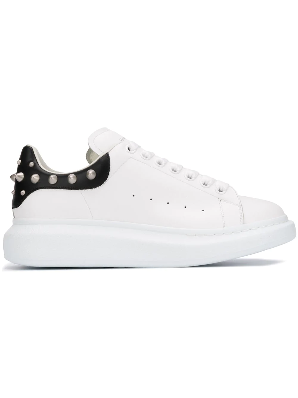 77b700240284 Alexander Mcqueen Men s Larry Leather Lace-Up Platform Sneakers With Spiked  Trim In White