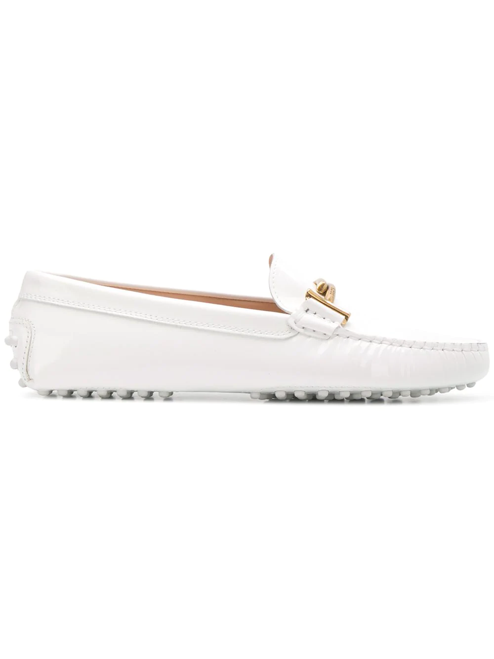 1e34ad7447a Tod s Gommini Double T Patent Leather Loafers In White