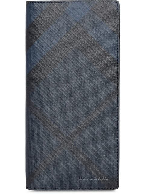 Burberry London Check And Leather Continental Wallet In Blue
