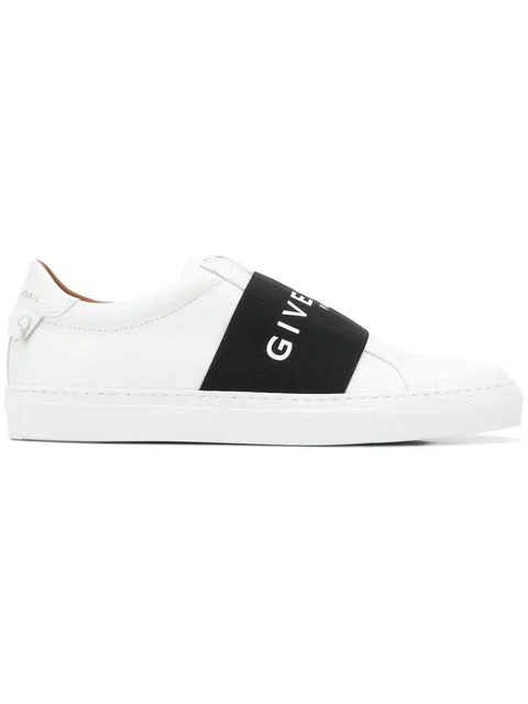 Givenchy Mens White And Black Knot Elastic Leather Trainers In White ,black