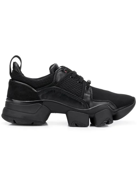 Givenchy Black Jaw Leather And Neoprene Low-Top Sneakers In 001   Black
