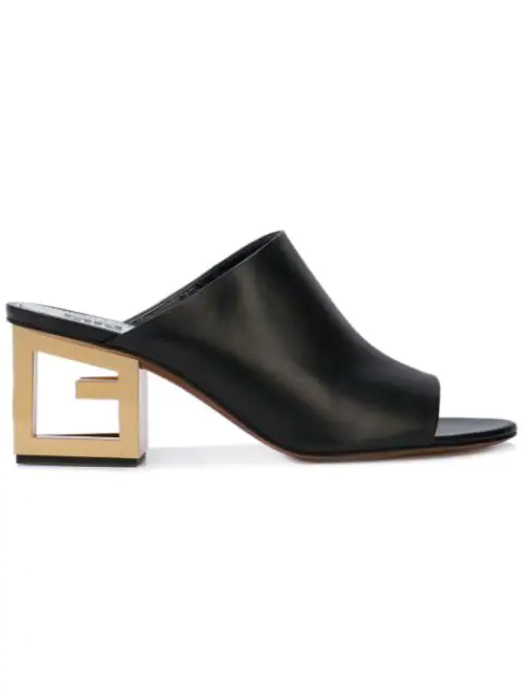 Givenchy Triangle Open-toe Mules In Black In Black ,gold