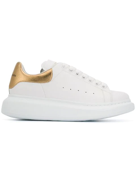 Alexander Mcqueen White And Rose Gold Oversized Leather Sneakers In 9075 - White/Gold 173
