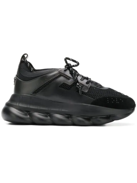 Versace Chain Reaction Sneakers In Black Tech/synthetic