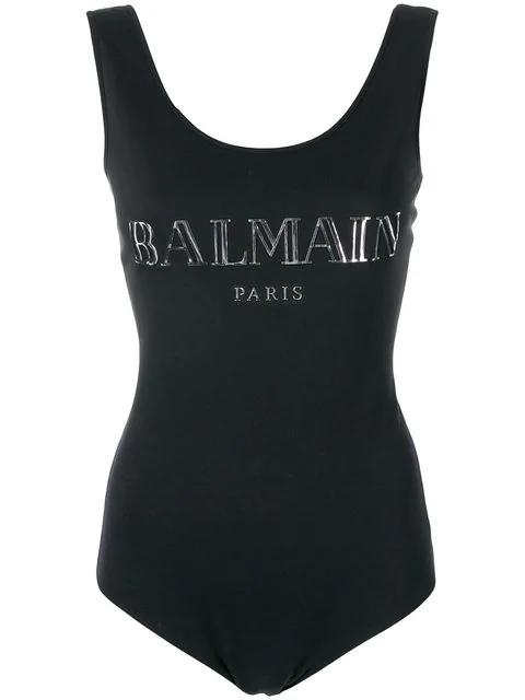 Balmain 3D Shiny Logo Cotton Jersey Bodysuit In Eac Noir/Argent