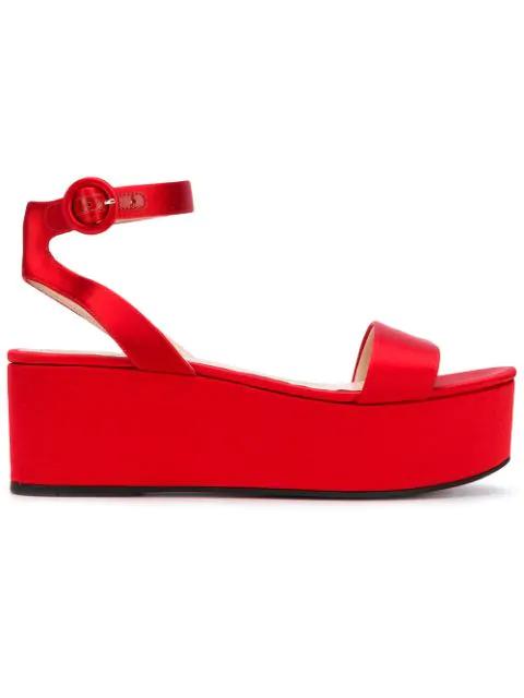 Prada Satin Flatform Sandals In Red
