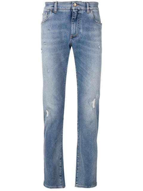 Dolce & Gabbana Cropped Distressed Jeans In Blue