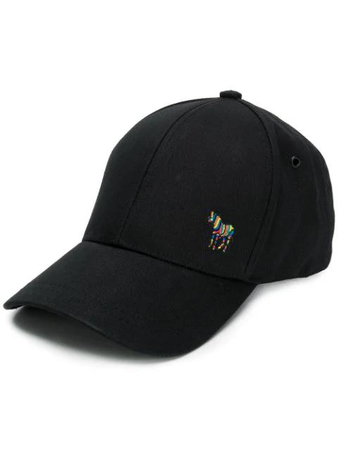 Ps By Paul Smith Zebra Logo Baseball Cap In Black