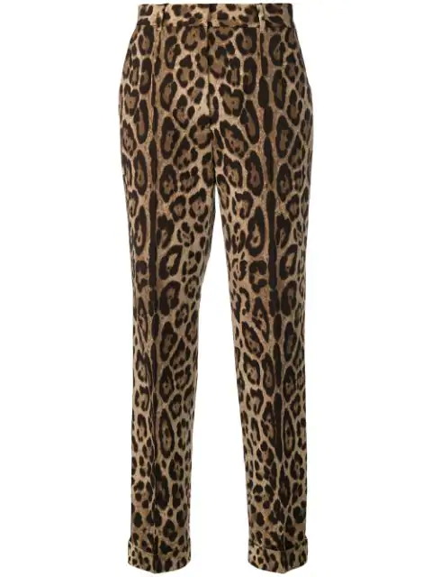 Dolce & Gabbana Leopard-Print Wool-Blend Straight-Leg Pants In Brown